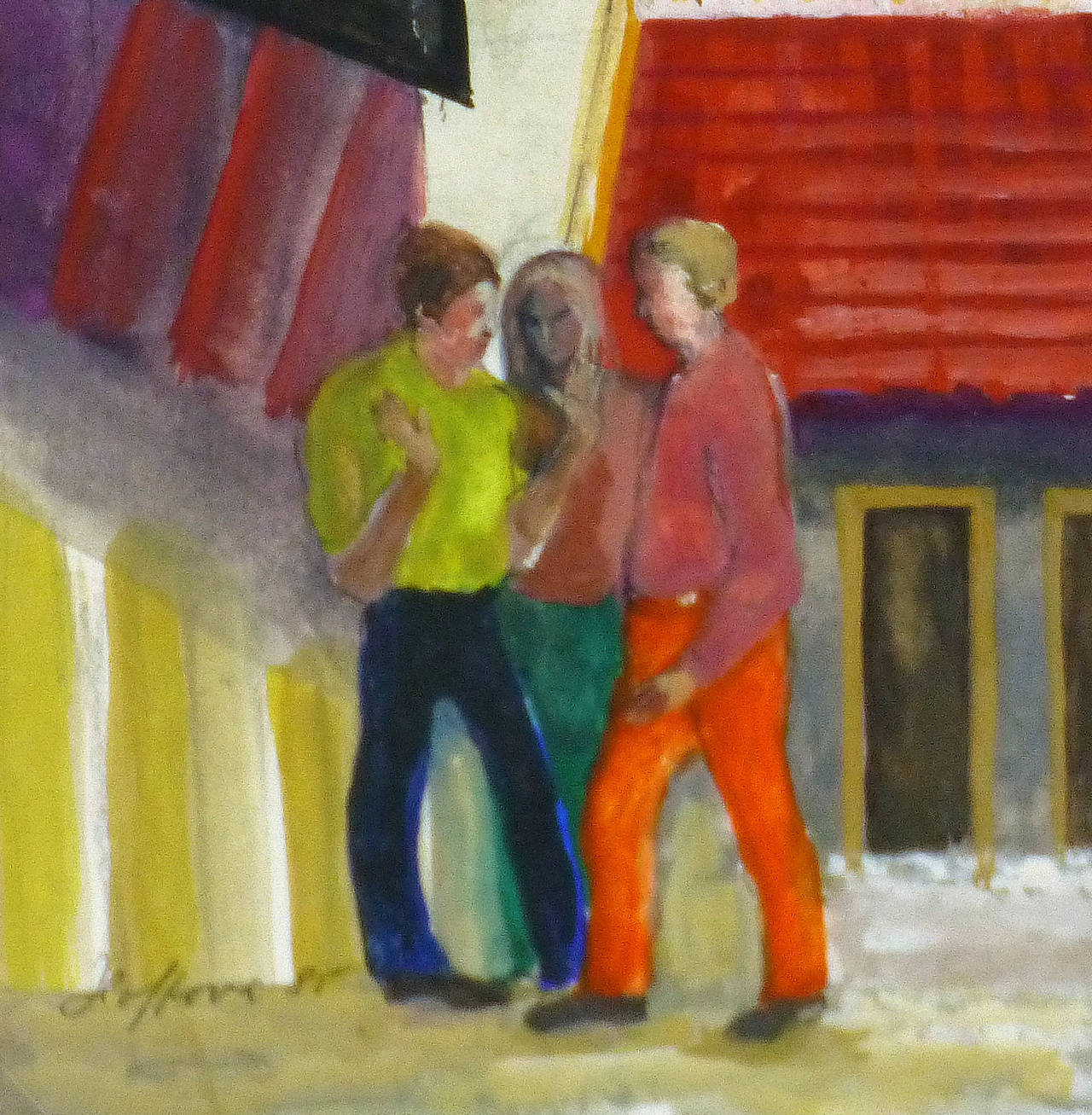 Hang Out - Brown Figurative Painting by Elisabeth Hoffova