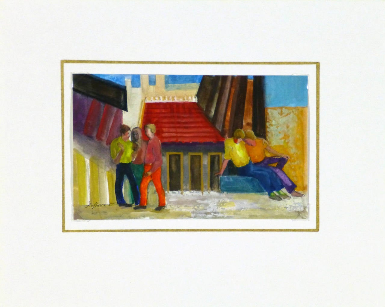 Small acrylic painting of a group of people gathered outside in front of small buildings in bold graphic lines by artist Elisabeth Hoffova, 1985. Signed lower left.  Original one-of-a-kind artwork on paper displayed on a white mat with a gold