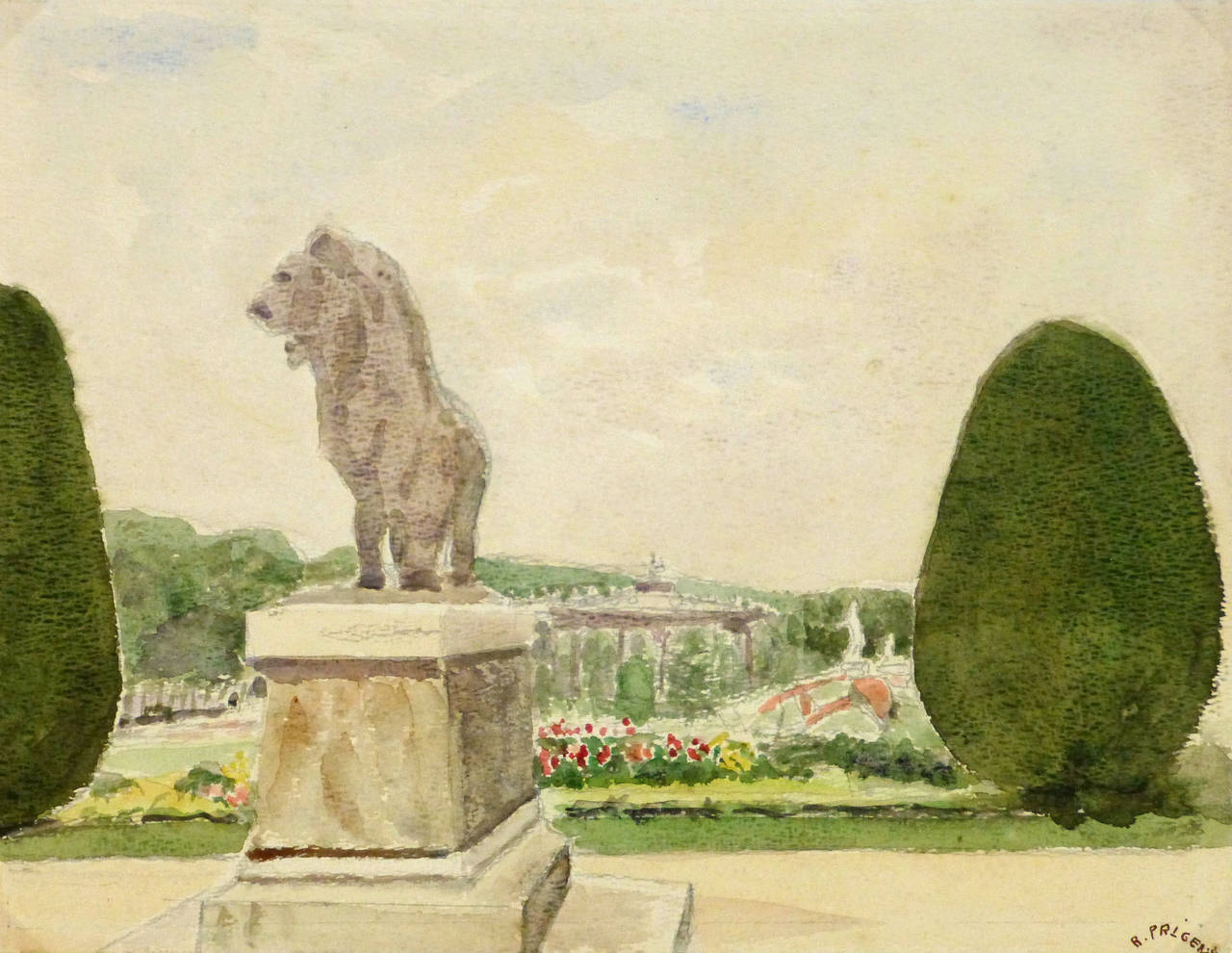 R. Prigent Landscape Art - Vintage French Watercolor Landscape - Gardens of Versailles