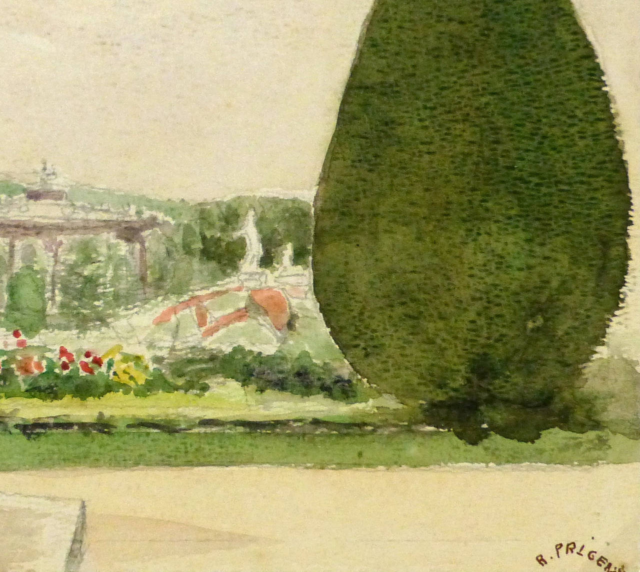 Elegant watercolor and pencil landscape of the splendid gardens of Versailles Palace in France by artist R. Prigent, 1976. Signed lower right, dated on back.