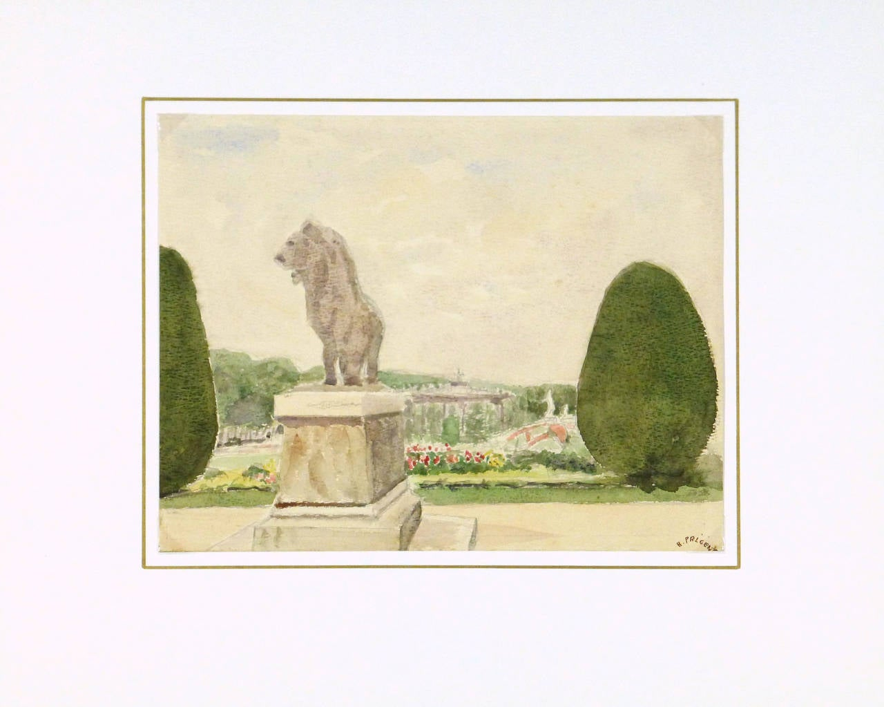 Vintage French Watercolor Landscape - Gardens of Versailles For Sale 1