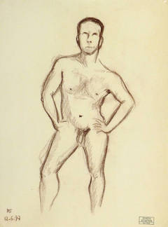 French Charcoal Sketch - Nude Male