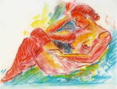 French Charcoal Sketch - Technicolor Nude Female