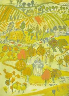 Vintage French Gouache Landscape - Pastoral Dreams