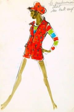 Vintage Balmain Fashion Sketch