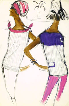 Vintage French Fashion Sketch - House of Balmain