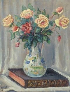 Vintage French Oil Still Life - Roses & Reading