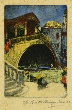 Vintage Drypoint - Rialto Bridge, Venice