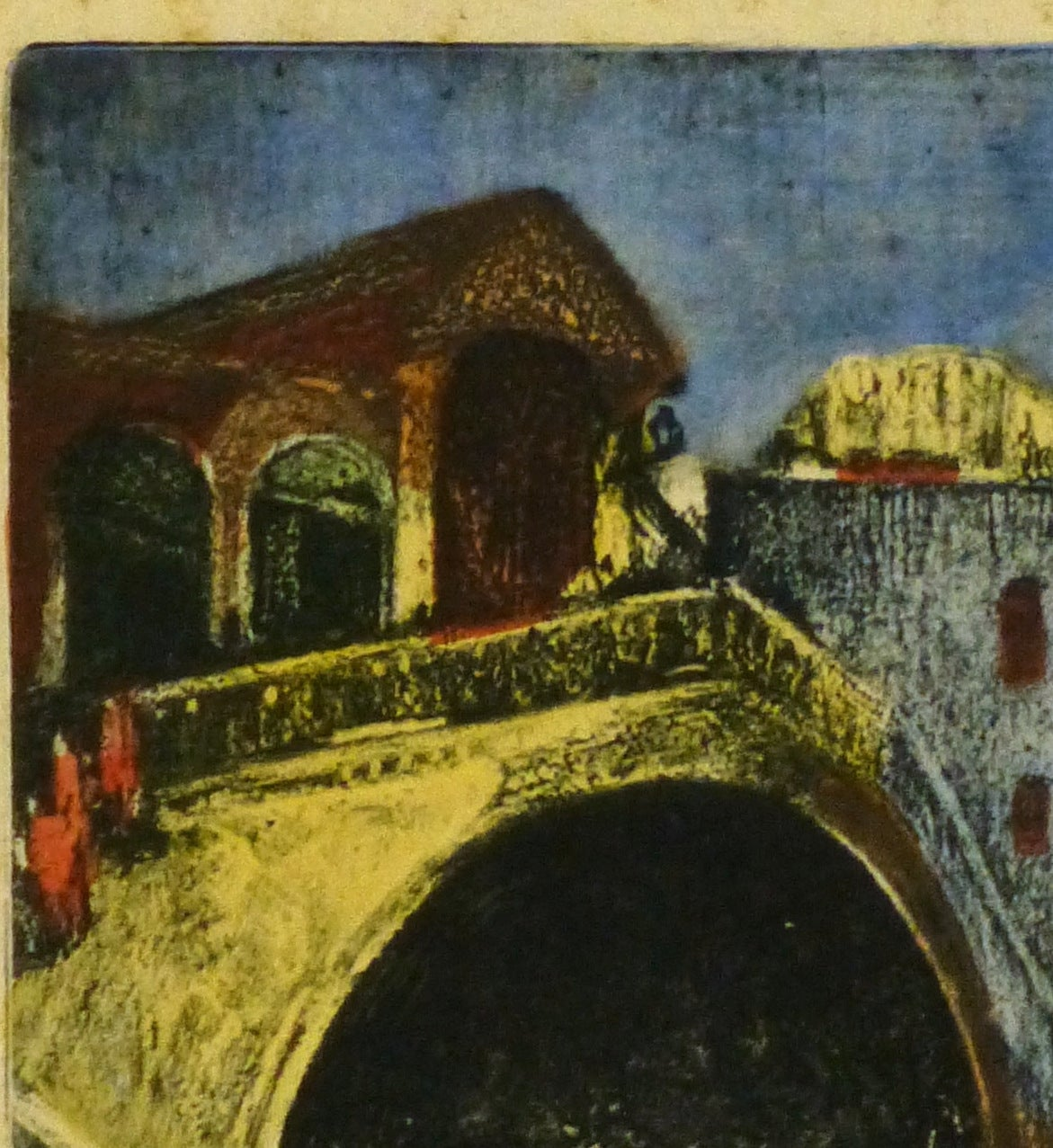 Vintage Drypoint - Rialto Bridge, Venice - Print by Unknown