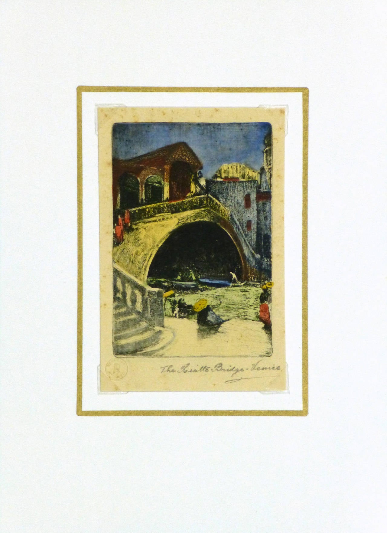 Small but finely detailed drypoint etching of a lovely scene from the Rialto Bridge in Venice, circa 1930. Titled lower right. Blind stamp lower left.