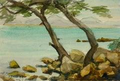 Vintage French Watercolor Landscape - Côte d'Azur