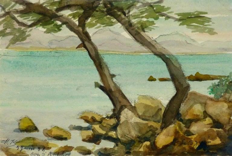 M. Kesseler Landscape Art - Vintage French Watercolor Landscape - Côte d'Azur