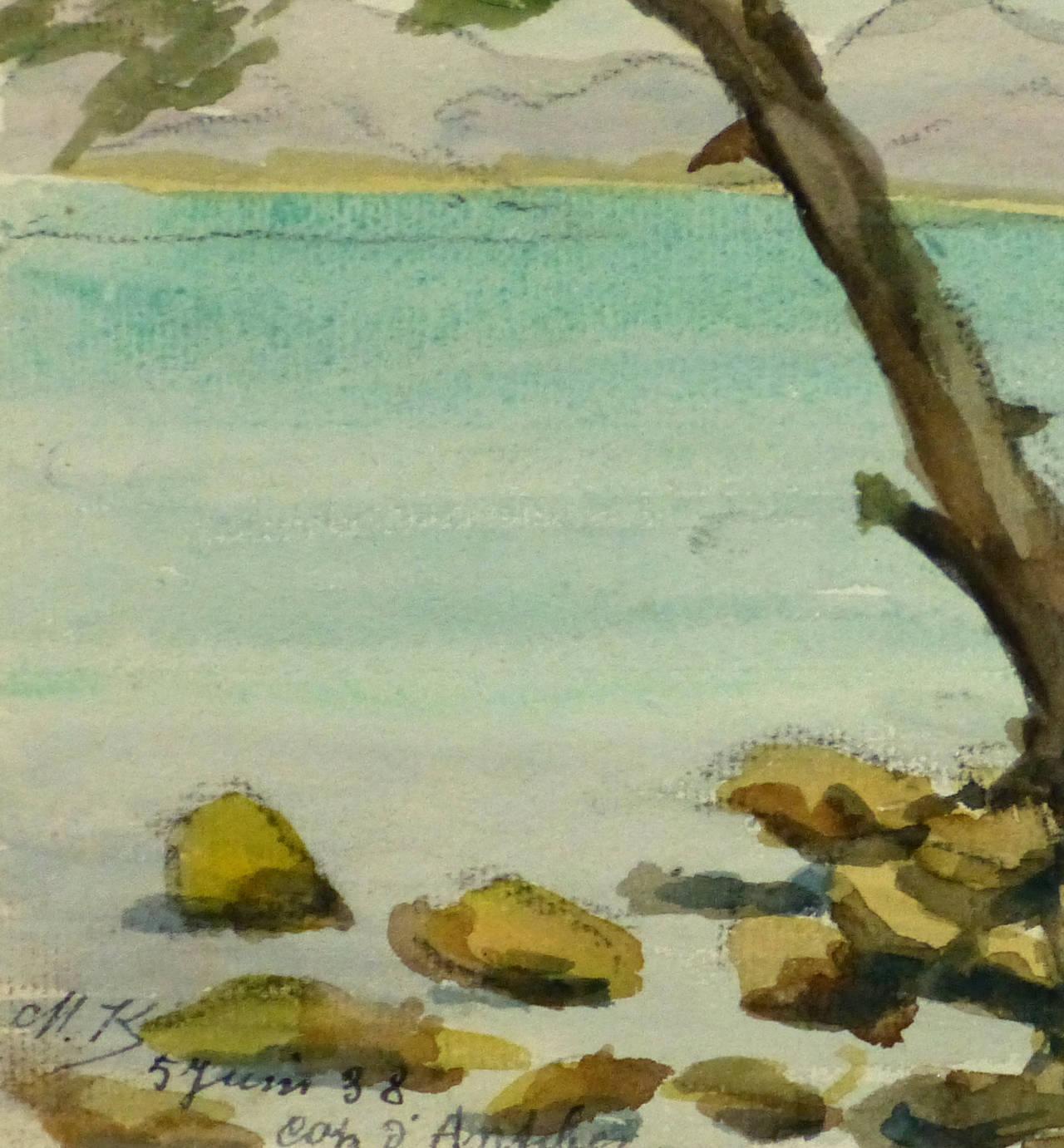 Vintage French Watercolor Landscape - Côte d'Azur - Art by M. Kesseler