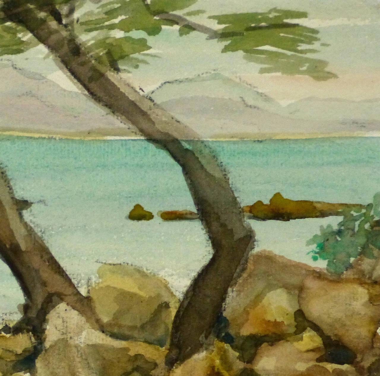 Vintage French Watercolor Landscape - Côte d'Azur - Brown Landscape Art by M. Kesseler