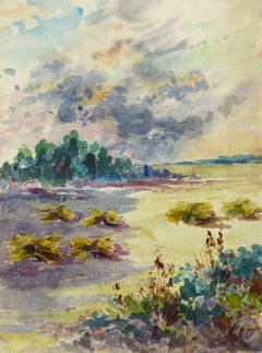 Vintage French Watercolor Landscape - The Hay Field