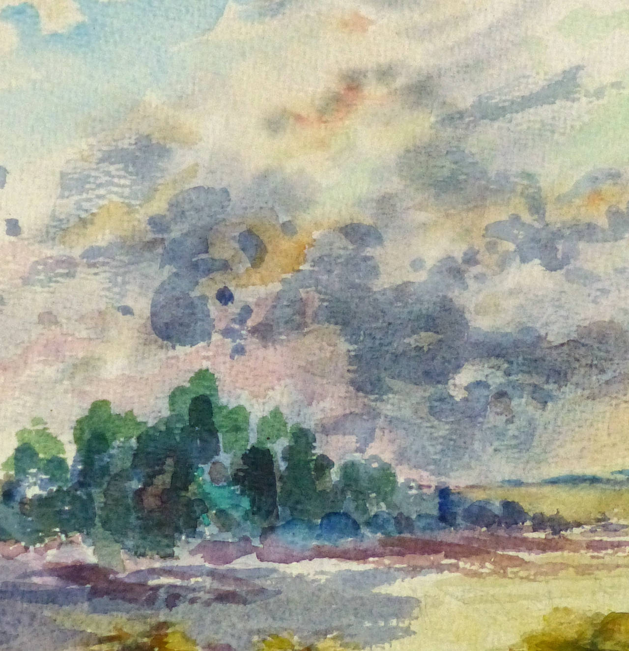 Vintage French Watercolor Landscape - The Hay Field - Art by Roger Tochon