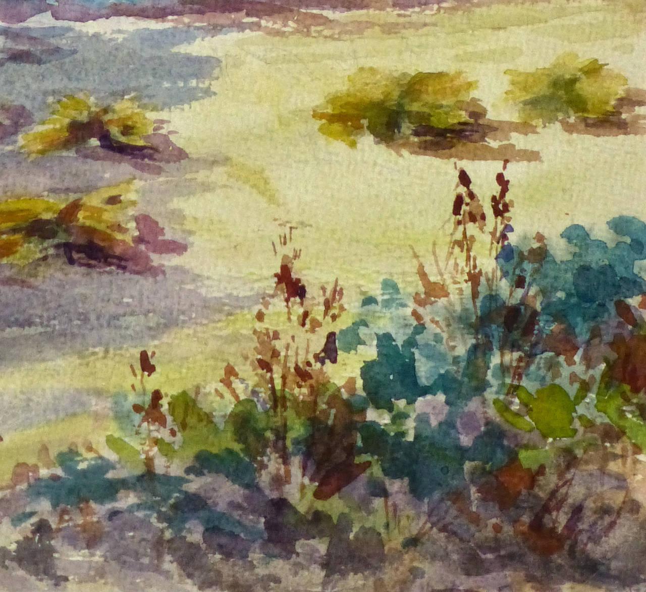 Vintage French Watercolor Landscape - The Hay Field - Black Landscape Art by Roger Tochon