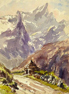 Vintage French Watercolor Landscape - Trail to the Peaks