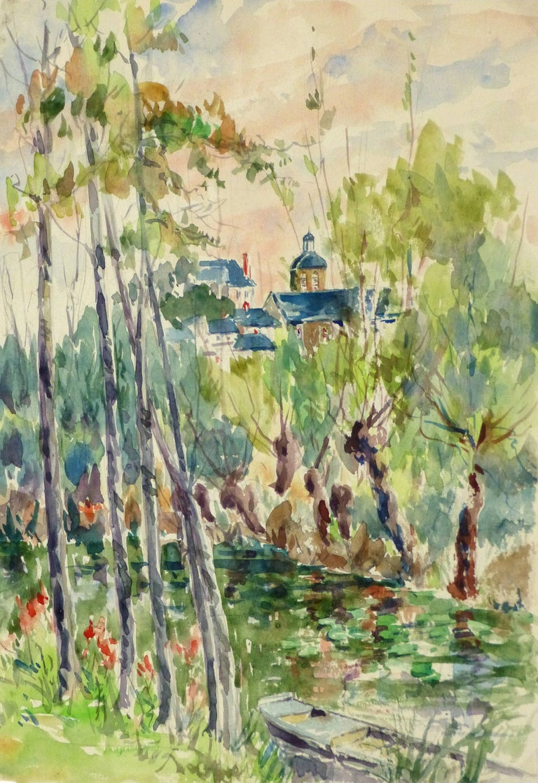 Roger Tochon Landscape Art - Vintage French Watercolor Landscape