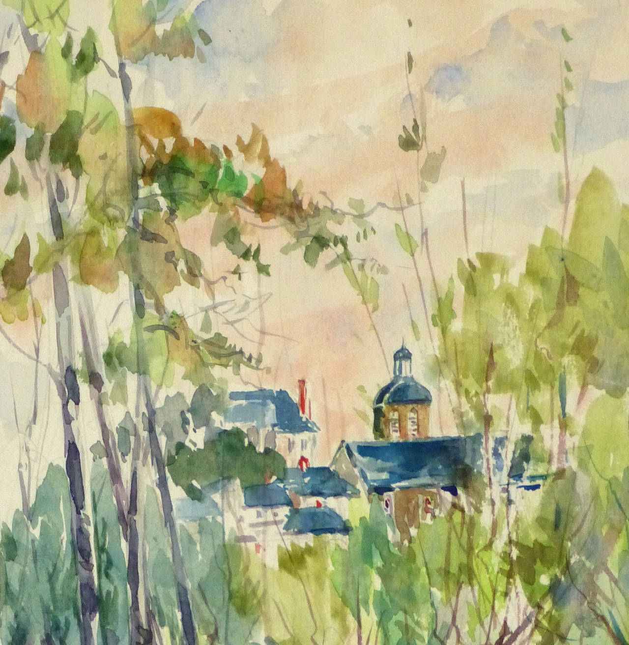 Vintage French Watercolor Landscape - Art by Roger Tochon