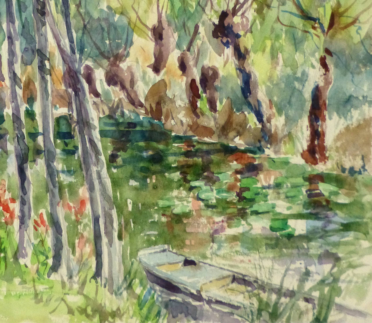 Vintage French Watercolor Landscape - Black Landscape Art by Roger Tochon