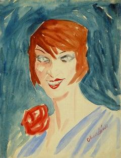 Vintage French Gouache Portrait