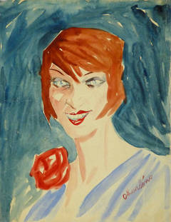 Vintage French Gouache Portrait