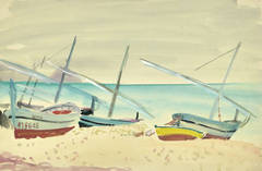 Vintage French Watercolor Seascape - Madagascar Beach