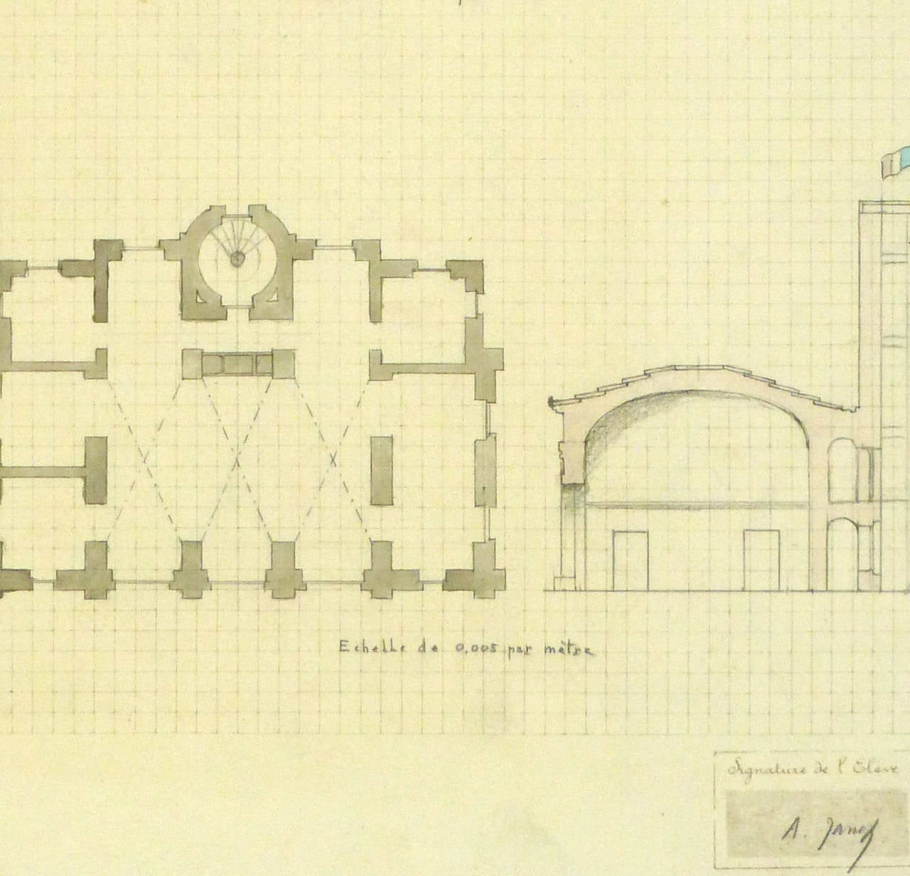 Unknown antique french architectural drawing french for Architectural drawing paper sizes