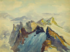 Vintage Watercolor Landscape - Mountain Peaks