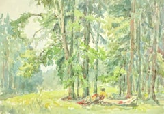 Vintage Watercolor Landscape Painting - Secluded Peace