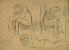 Vintage Charcoal Sketch - Sitting & Reclining