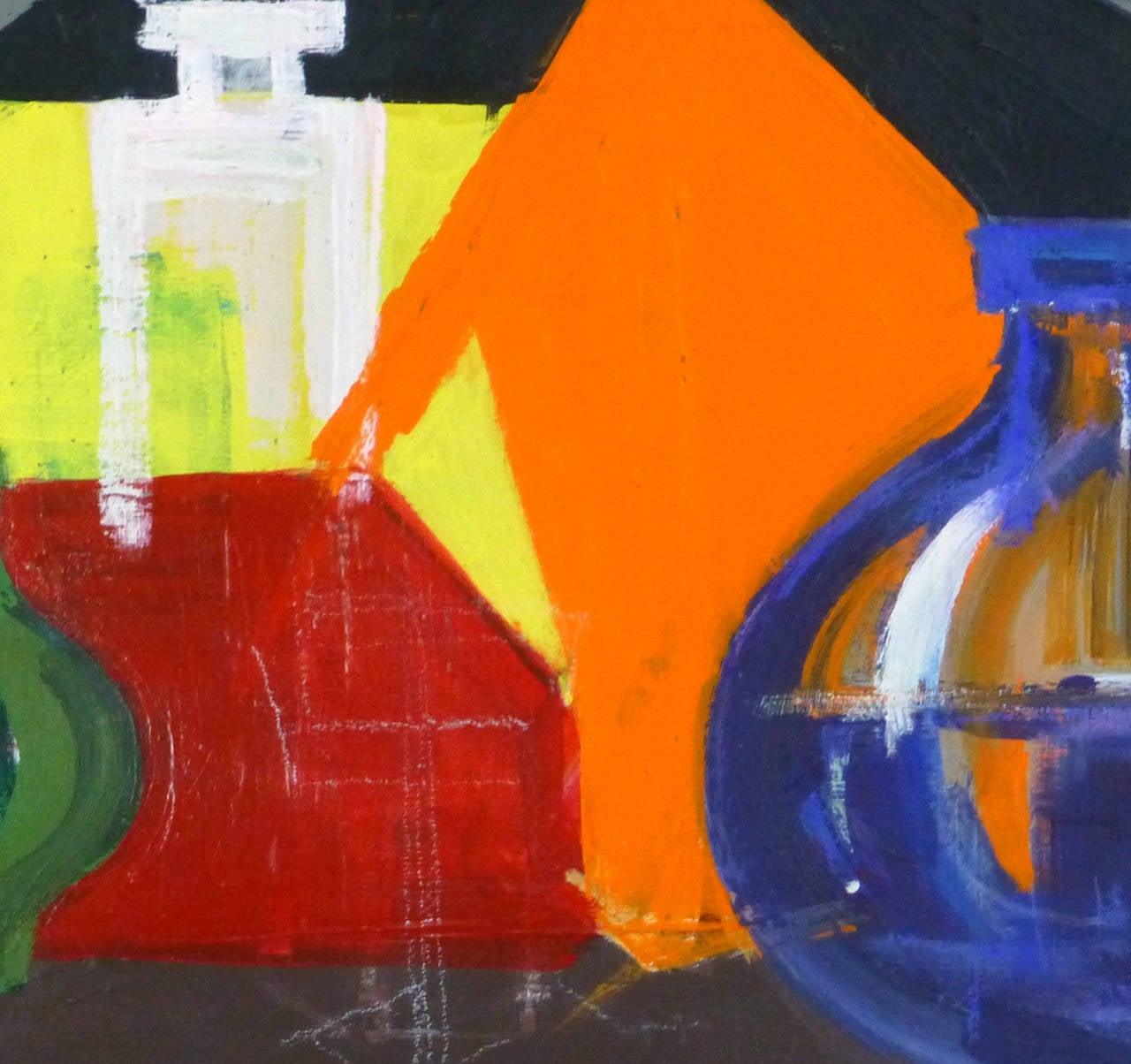 Purple Bowls Wine Bottels Modern Canvas Painting Wall Art: Vintage Abstract Still Life