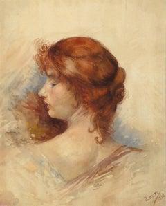 Antique French Watercolor Portrait - Profile of Elegance (Woman)