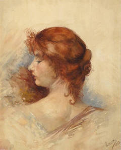 Antique French Watercolor Portrait - Profile of Elegance (Woman)
