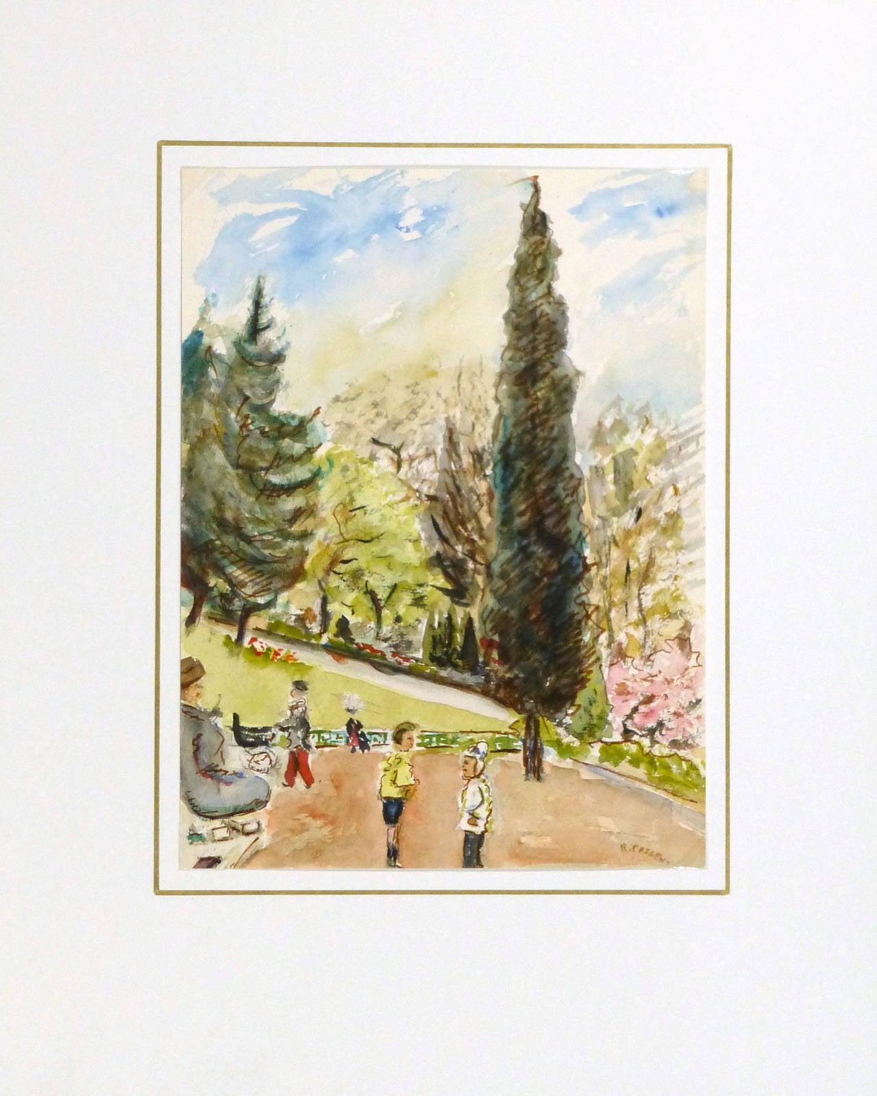 R prigent vintage french watercolor paris jardin des for Paris jardin plantes