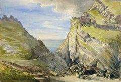 Antique Watercolor Landscape - Porth Dafarch, England