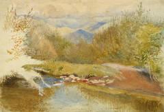 Vintage English Watercolor Landscape - Fall in Gwanach