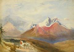 Vintage English Watercolor Landscape - Winter Peaks