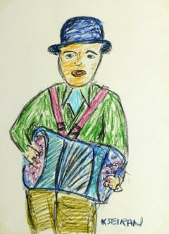 French Oil Pastel - The Accordion Man