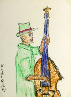 French Oil Pastel - The Bassist