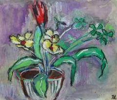 Vintage French Oil Pastel - Floral Still-Life