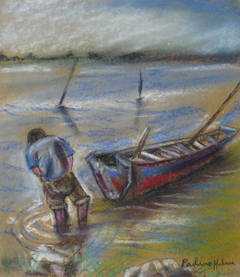 Marine Oil Pastel - Wading in the Bay