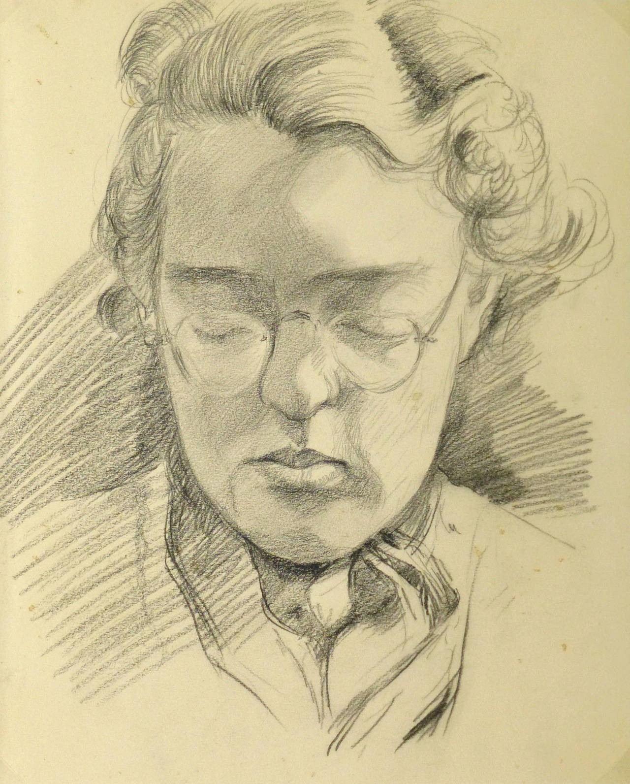 Vintage pencil drawing of woman