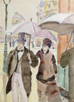 Vintage French Watercolor- A Dapper Couple