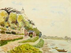 Vintage French Watercolor of Saint Florent Le Vieil along the Loire River