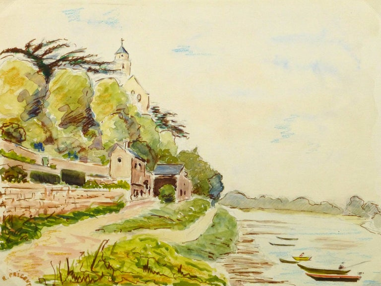 R. Prigent Landscape Art - Vintage French Watercolor of Saint Florent Le Vieil along the Loire River