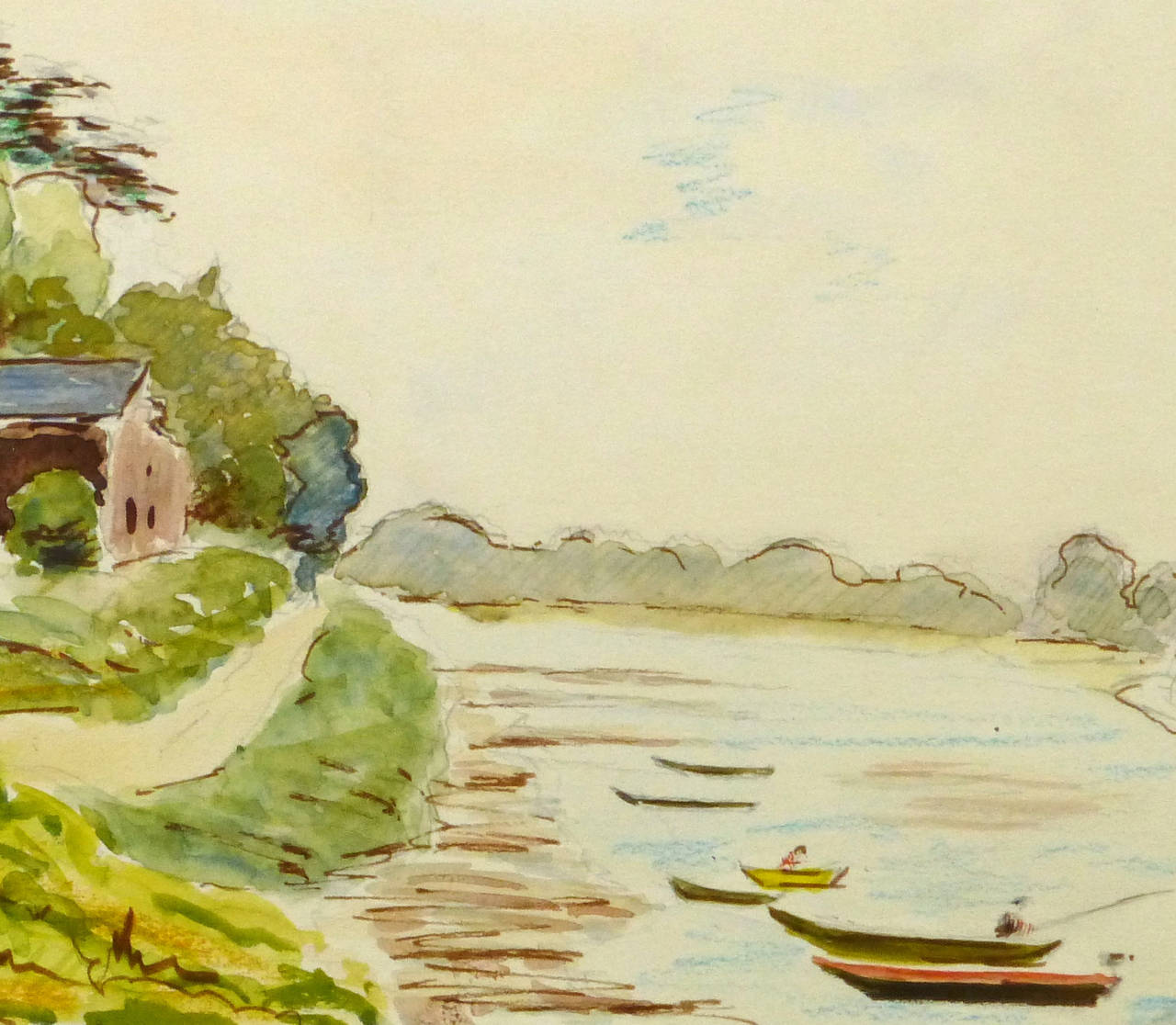 Vintage French Watercolor of Saint Florent Le Vieil along the Loire River - Art by R. Prigent