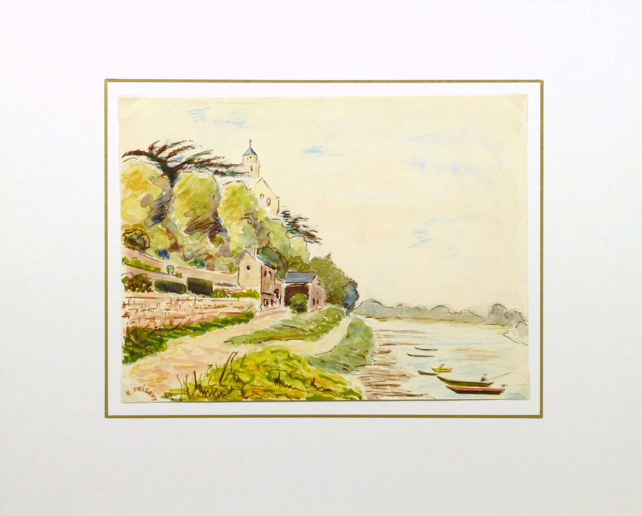 Picturesque French watercolor depicting a tranquil scene of the town of Saint Florent le Vieil, France situated along the Loire River showing fishing boats, a church, and buildings from the town by R. Prigent, 1973. Signed lower left.   The town is