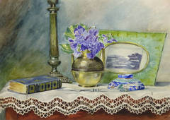 Vintage French Watercolor - Violets and Lace